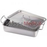 Cutie sterilizare din inox - 210x110x50 mm cu maner lateral -KlasseMedical